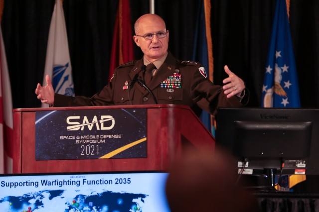 Gen. Ed Daly, Army Materiel Command commander spoke on the final day of the Space and Missile Defense Symposium, August 12, at the Von Braun Center South Hall in Huntsville, Ala.