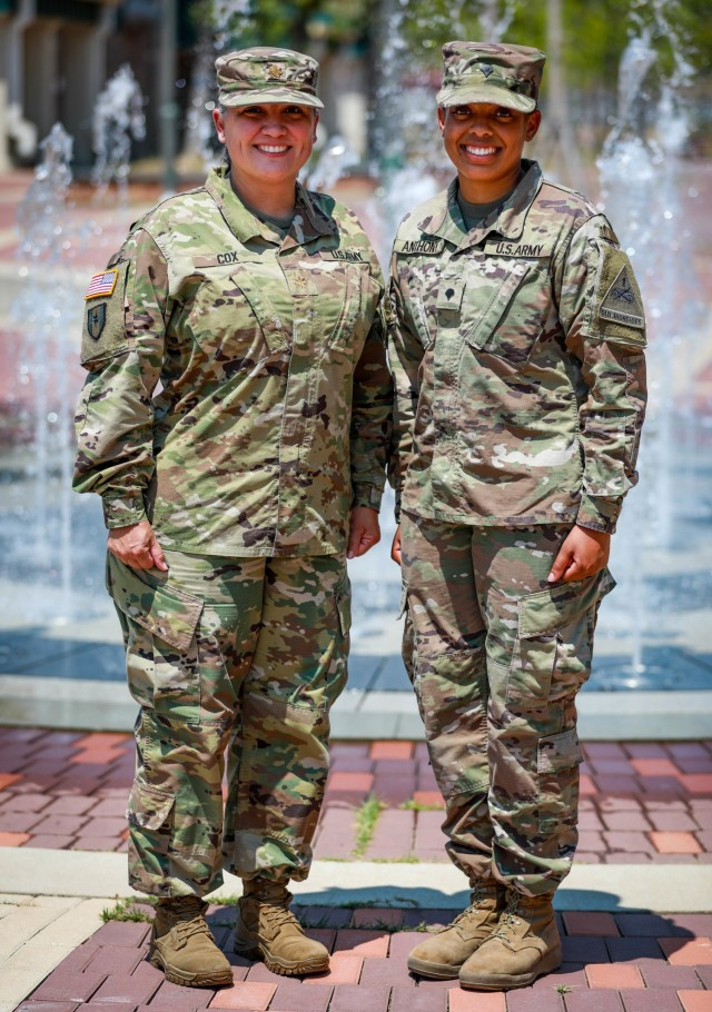 Maj. Eloisa Cox, brigade logistics officer, 3rd Armored Brigade Combat Team, 1st Armored Division serves with her daughter, Spc. Ayana Anthony, a combat medic assigned to Charlie Company, 123rd Brigade Support Battalion, 3rd ABCT her while forward deployed to the Republic of Korea.