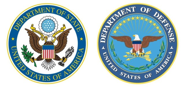 Seals of the United States Department of State and Department of Defense.