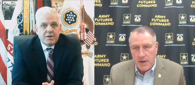 Christopher Lowman, left, the senior official performing the duties of the undersecretary of the Army, and Gen. John M. Murray, commander of Army Futures Command, discuss the importance of the joint force on the future battlefield during a live discussion hosted by the Potomac Officers Club on Aug. 12, 2021.