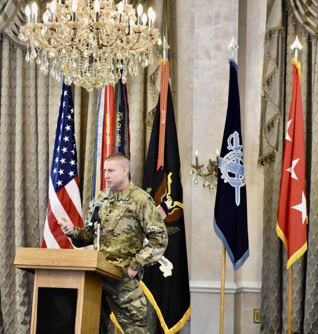 Sgt. Maj. Larry H. Orvis Jr., Senior Enlisted Inspector General giving a presentation at the IG workshop.