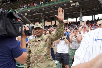 Command Sergeant Major honored during Chicago Cubs game, ahead of retirement