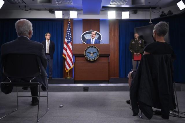"Pentagon Press Secretary John F. Kirby holds a press briefing on Afghanistan, with Army Maj. Gen. William D. ""Hank"" Taylor and Director for Defense Intelligence Garry Reid, the Pentagon, Washington, D.C., Aug. 16, 2021. (DoD photo by Lisa Ferdinando)"