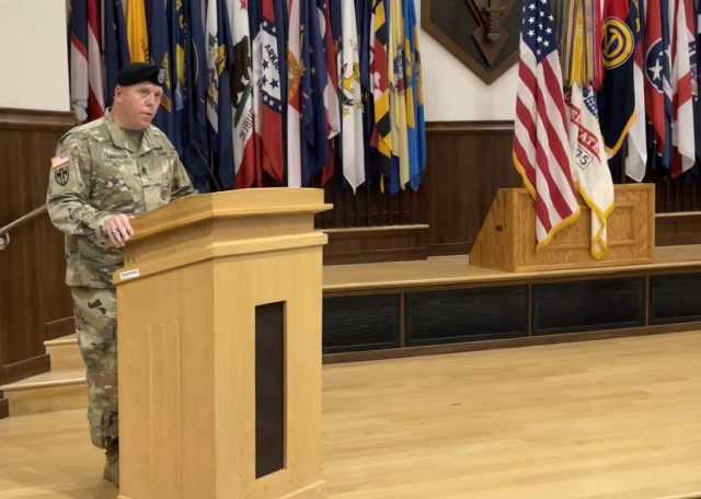 Command Sgt. Maj. James Lamberson gives remarks during the 102nd Training Division-Maneuver Support change of responsibility on Aug. 13 in Lincoln Hall Auditorium.