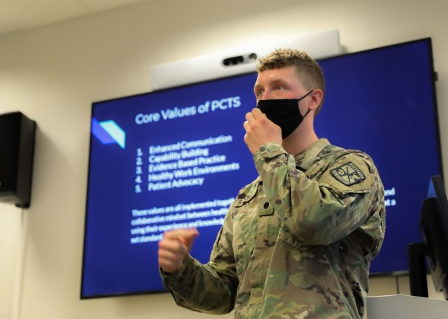 Cadet Lawrence Randall, a native of Wylie, Texas, and student at Stephen F. Austin State University at Nacogdoches, Texas, provides a presentation as part of the Landstuhl Regional Medical Center's Nurse Summer Training Program at LRMC, Aug. 13.