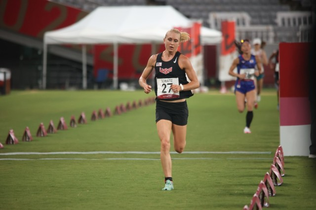 Sgt. Samantha Schultz during the laser run event of women's modern pentathlon at the 2020 Summer Olympic Games in Tokyo, Japan, Aug 6. Schultz, a Soldier-athlete in the Army's World Class Athlete Program, placed 21st overall.