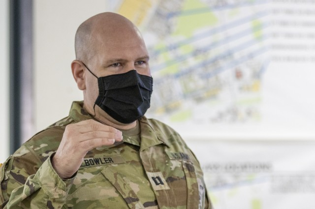 Capt. Timothy Bowler, 84th Training Command Diamond Saber exercise planner and finance officer, briefs the Diamond Saber exercise evaluation team at Fort McCoy, Wisconsin, Aug. 14, 2021. Diamond Saber is a U.S. Army Reserve-led exercise that incorporates participation from all components and joint services, and it prepares finance and comptroller Soldiers on the warfighting functions of funding the force, payment support, disbursing operations, accounting, fiscal stewardship, auditability and data analytics. (U.S. Army photo by Mark R. W. Orders-Woempner)