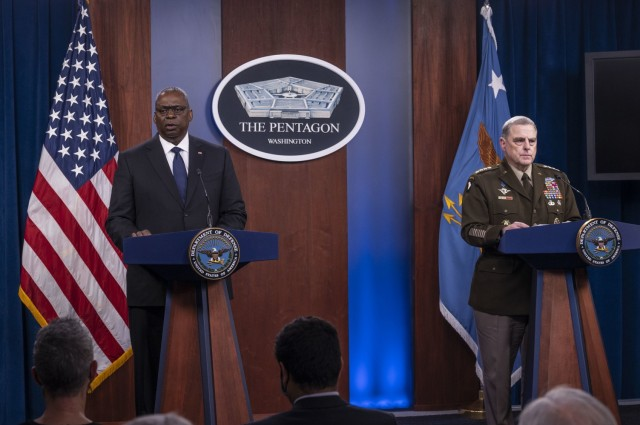 Secretary of Defense Lloyd J. Austin III and Army Gen. Mark A. Milley, chairman of the Joint Chiefs of Staff, brief the media on Afghanistan, the Pentagon, Washington, D.C., Aug. 18, 2021. (DoD photo by Air Force Staff Sgt. Julian Kemper)