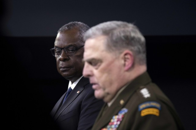 Secretary of Defense Lloyd J. Austin III and Army Gen. Mark A. Milley, chairman of the Joint Chiefs of Staff, brief the media, the Pentagon, Washington, D.C., Aug. 18, 2021. (DoD photo by Lisa Ferdinando)