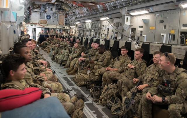 U.S. Army Soldiers assigned to the 82nd Airborne Division, Pope Army Airfield, N.C., pack in a C-17 Globemaster III before departing Joint Base Charleston, S.C., August 14, 2021. The Pentagon recently activated the Immediate Response Force to help in the safe and secure movement of U.S. personnel and Afghan Special Immigration Visa civilians located in the Middle East. (U.S. Air Force photo by Staff Sgt. Dawn M. Weber)