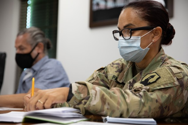 FORT BUCHANAN, P.R.—The 1 st Mission Support Command conducts a civilian awards recognition board for rating cycle 2021 at the command's headquarters, Aug 15, 2021. Lt. Col. Cynthia M. Pagan, 1 st MSC deputy human resource, reviewed packets selected for awards.