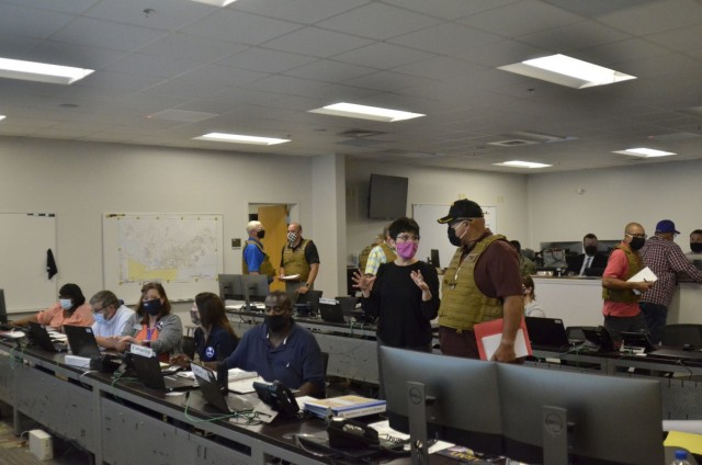 U.S. Army Garrison-Fort Campbell employees execute the installation's response to two active attacker scenarios from the Emergency Operations Center Aug. 17 as part of a two-day full-scale exercise.