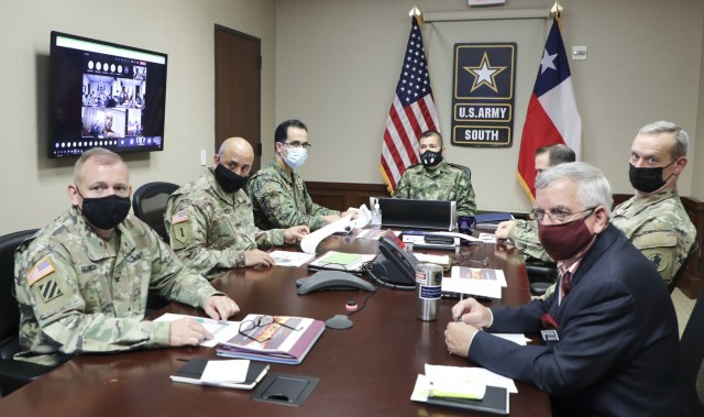 A U.S. Army South delegation attends the 16th iteration of the U.S.-Chilean army-to-army staff talks with the Chilean Army virtually Aug. 20 from the U.S. Army South headquarters. As the Army's Executive Agent, U.S. Army South conducts bilateral staff talks with partner nations in the U.S. Southern Command (SOUTHCOM)'s area of responsibility to strengthen the command's professional relationships and create training opportunities in the Western Hemisphere.