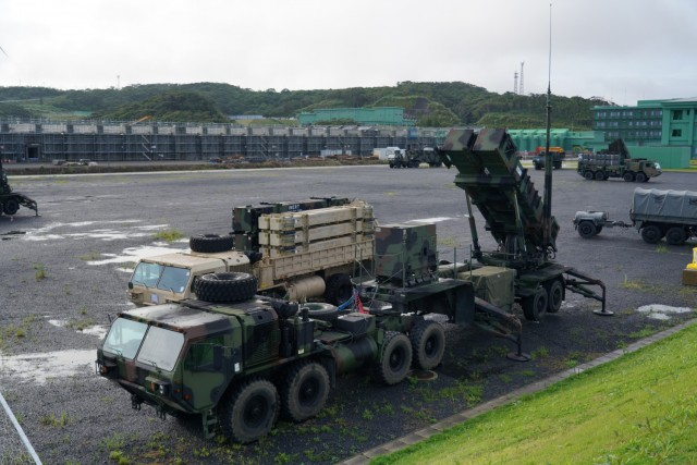 Bravo Battery, 1-1 Air Defense Artillery Battalion, and Japanese Ground Self-Defense Force's 8th Anti-Aircraft Artillery Group, conducted simulated scenario missile defense on Camp Amami as part of Orient Shield 21-2. Both Bravo Battery and 8th AAGp have been conducting drills and other training to include movement, deployment, reload, and system reconfiguring, using both the U.S. Patriot Missile Reload System and the JGSDF's Chu-SAM Missile Reload System.  The Fire Control Platoon conducted bilateral operations through a joint command post. Information was fed to both Patriot Engagement Controls Station ECS and Chu-SAM (Fire Control Platoon) in the bilateral CP where both unit command teams exercise the capabilities to deconflict the shared airspace between each unit. OS 21-2 focuses on developing and refining the JGSDF and U.S. Army multi-domain and cross-domain operations through a field training exercise.   Orient Shield is the largest U.S. Army and Japan Ground Self-Defense Force bilateral field training exercise being executed in various locations throughout Japan to enhance interoperability and test and refine multi-domain and cross-domain operations.