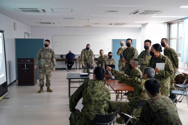 The command teams from the U.S. Army's Bravo Battery, 1-1 Air Defense Artillery Battalion, met with Japanese Ground Self-Defense Force's 8th Anti-Aircraft Artillery Group to plan, synchronize, and deconflict capabilities in perpetration for the bilateral training, part of Orient Shield-21, on Camp Amami 28 June. Orient Shield is the largest U.S. Army and Japan Ground Self-Defense Force bilateral field training exercise being executed in various locations throughout Japan to enhance interoperability and test and refine multi-domain and cross-domain operations.