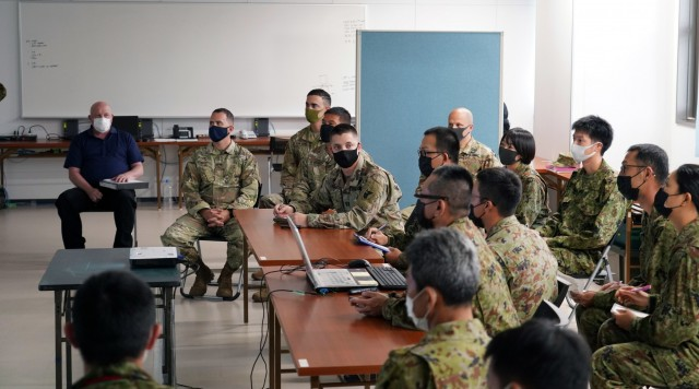 The command teams from the U.S. Army's Bravo Battery, 1-1 Air Defense Artillery Battalion, met with Japanese Ground Self-Defense Force's 8th Anti-Aircraft Artillery Group to plan, synchronize, and deconflict capabilities in perpetration for the bilateral training, part of Orient Shield-21, on Camp Amami 28 June. Orient Shield is the largest U.S. Army and Japan Ground Self-Defense Force bilateral field training exercise being executed in various locations throughout Japan to enhance interoperability and test and refine multi-domain and cross-domain operations
