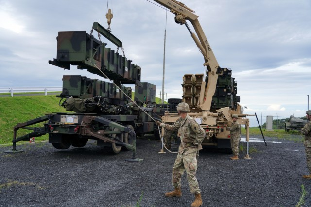Bravo Battery, 1-1 Air Defense Artillery Battalion, and Japanese Ground Self-Defense Force's 8th Anti-Aircraft Artillery Group, conducted simulated scenario missile defense on Camp Amami as part of Orient Shield 21-2. Both Bravo Battery and 8th AAGp have been conducting drills and other training to include movement, deployment, reload and system reconfiguring, using both the U.S. Patriot Missile Reload System and the JGSDF's Chu-SAM Missile Reload System.  The Fire Control Platoon conducted bilateral operations through a joint command post. Information was fed to both Patriot Engagement Controls Station ECS and Chu-SAM (Fire Control Platoon) in the bilateral CP where both unit command teams exercise the capabilities to deconflict the share airspace between each unit. OS 21-2 focuses on developing and refining the JGSDF and U.S. Army multi-domain and cross-domain operations through a field training exercise.   Orient Shield is the largest U.S. Army and Japan Ground Self-Defense Force bilateral field training exercise being executed in various locations throughout Japan to enhance interoperability and test and refine multi-domain and cross-domain operations.