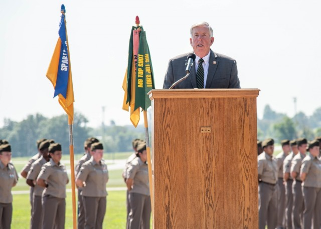 Missouri Governor Mike Parson visited Fort Leonard Wood Aug. 26, where he provided remarks at a Military Police One Station Unit Training graduation ceremony and then was honored with the Order of the Marechaussee in steel by Brig. Gen. Niave Knell, U.S. Army MP School commandant, for his service in the Army as an MP.