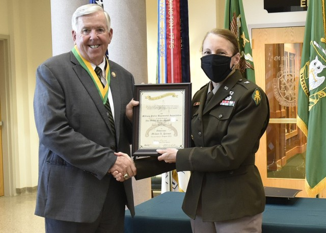 Missouri Governor Mike Parson was honored with the Order of the Marechaussee in steel by Brig. Gen. Niave Knell, U.S. Army Military Police School commandant, for his service in the Army as an MP.
