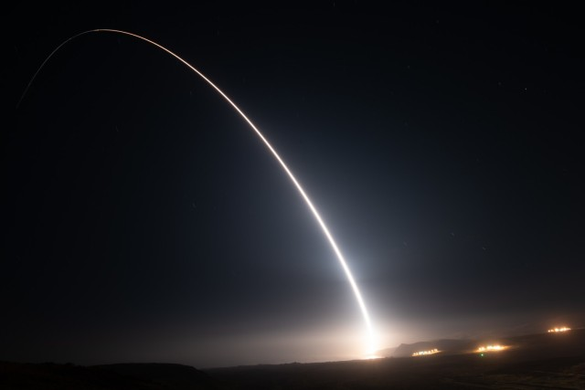 An unarmed Minuteman III intercontinental ballistic missile launches from Vandenberg Space Force Base, California, during an Air Force Global Strike Command operational test, Aug. 11. The vehicle impacted in a pre-established target zone roughly 4,200 miles away near the U.S. Army Space and Missile Defense Command's Ronald Reagan Ballistic Missile Defense Test Site on Kwajalein Atoll in the Republic of the Marshall Islands. During these tests, RTS personnel provide cradle-to-grave support for every mission, which includes requirements definition for the test, environmental impact assessment, range scheduling, range safety and logistical support. (U.S. Space Force photo by Michael Peterson)