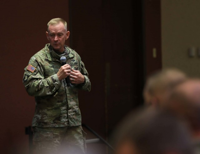 CSM Todd Sims gives a speech to the FORSCOM retention teams at Cole Park Commons. We will prepare for our role in a future conflict by modernizing the force, fostering a culture of innovation, and demonstrating excellence.