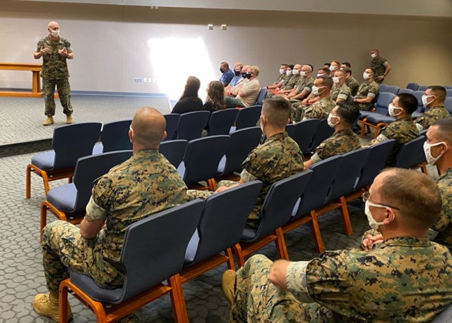 During a ceremony Aug. 26 at Specker Chapel, Col. Charles Long, Fort Leonard Wood Marine Corps Detachment commander, recognized key players in the unit's recent Commanding General's Readiness Inspection, held Aug. 17 to 19 here .