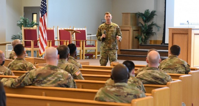 Lt. Col. (P) Sam Preston, U.S. Army chief of behavioral health, was one of the speakers and subject matter experts leading the discussions at the spiritual readiness pilot inside Main Post Chapel. Fort Drum was the latest installation to participate in the U.S. Army Chaplain Corps spiritual readiness initiative, which presents a science-based understanding of spirituality and the importance of interpersonal connections. (Photo by Mike Strasser, Fort Drum Garrison Public Affairs)