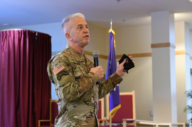 Maj. Gen. Thomas Solhjem, U.S. Army chief of chaplain, addresses the attendees at the spiritual readiness pilot Aug. 26 inside Main Post Chapel. Fort Drum was the latest installation to participate in the U.S. Army Chaplain Corps spiritual readiness initiative, which presents a science-based understanding of spirituality and the importance of interpersonal connections.(Photo by Mike Strasser, Fort Drum Garrison Public Affairs)