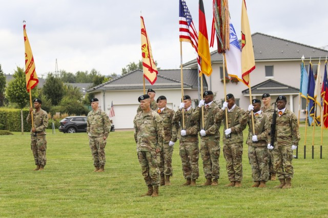 Command Sgt. Maj. Christopher Truchon stands at the front of the formation at the close of the IMCOM-Europe Change of Responsibility ceremony Aug. 27 at USAG Wiesbaden's Clay Kaserne.