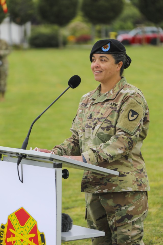 """Outgoing IMCOM-Europe Command Sgt. Maj. Samara Pitre speaks at the Change of Responsibility ceremony Aug. 27 at USAG Wiesbaden's Clay Kaserne. Pitre said her four years in Europe felt like they went by in """"the blink of an eye,"""" she spent every day learning, and was proud to say she played a part in supporting the units and garrison communities."""