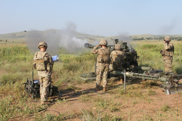 Spc. Matthew Rayburn, B Battery, 2nd Battalion, 2nd Field Artillery gunner, fires another round downrange during direct fire training Aug. 27, 2021, at Fort Sill, Oklahoma. Primarily a Paladin man, Rayburn said he enjoyed seeing his rounds impact the target.