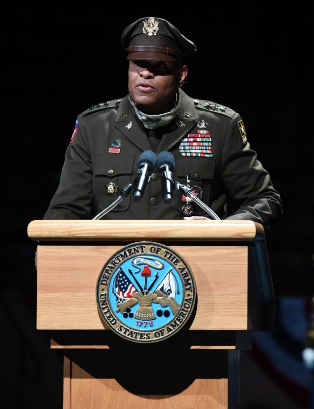 U.S. Army Lt. Gen. Leslie C. Smith, the 66th Inspector General of the Army, delivers remarks during a retirement ceremony in his honor at Conmy Hall, Joint Base Myer-Henderson Hall, Virginia, Aug. 27, 2021. Smith retired after more than 35 years of active duty service. (U.S. Army photo by Cpl. XaViera Masline)