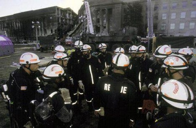 Soldiers from the Military District of Washington Engineer Company, now called the 911th Technical Rescue Engineer Company, conduct operations at the Pentagon in Washington, D.C., following the terrorist attack on Sept. 11, 2001. The Soldiers specialize in urban search and rescue operations in the National Capital Region.