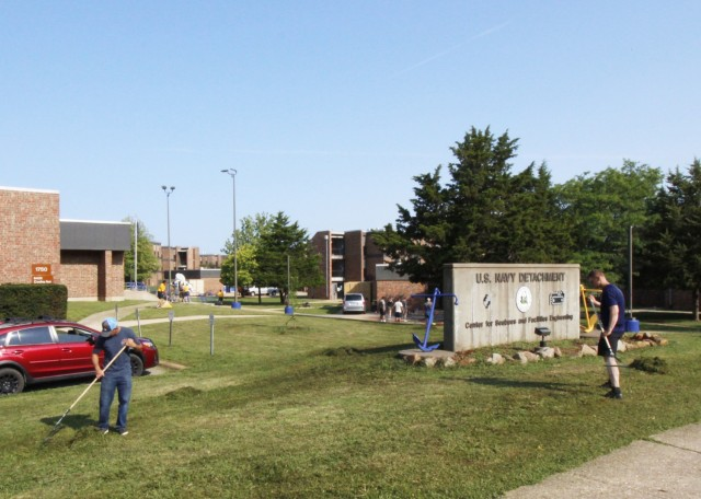 Fort Leonard Wood Navy Detachment students, staff and their families volunteered time last month to beautify the exteriors of their buildings. They painted, pulled weeds and landscaped as part of a campaign called, 'change the landscape, change the mindset,' designed to build camaraderie and instill pride.