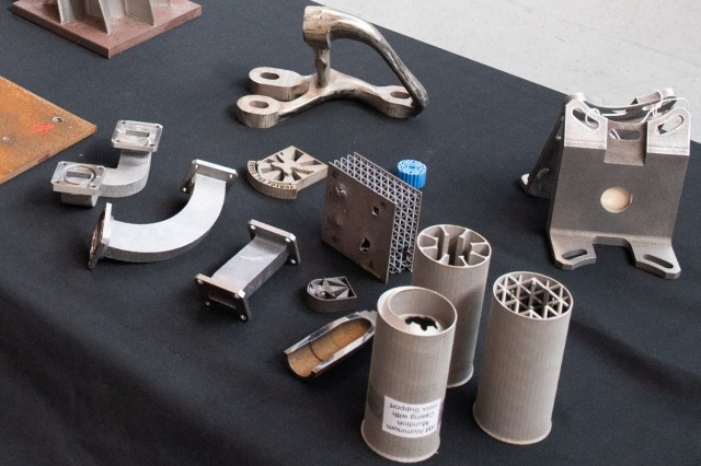 Various metal objects,3D printed at the Army's national research laboratory, show the potential this technology has for creating useful items as the point of need.