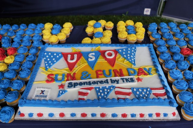Precut cake and desserts at the USO Grafenwoehr Sun & Fun program, hosted at the Tower Barracks Wild B.O.A.R. Outdoor Recreation Complex, Aug. 28, 2021. (U.S. Army photo by Sidney Sullivan / USAG Bavaria Public Affairs)