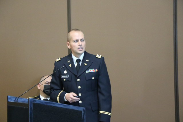 Capt. Joshua D. Boucher, doctor of osteopathic medicine, one of the presenters at the Applied Research Training Course (ARTC), delivers his presentations during the ARTC on Aug. 18. At the Centennial Conference and Banquet Center, Fort Bliss. . (Photo by Vincent Byrd, WBAMC Public Affairs)