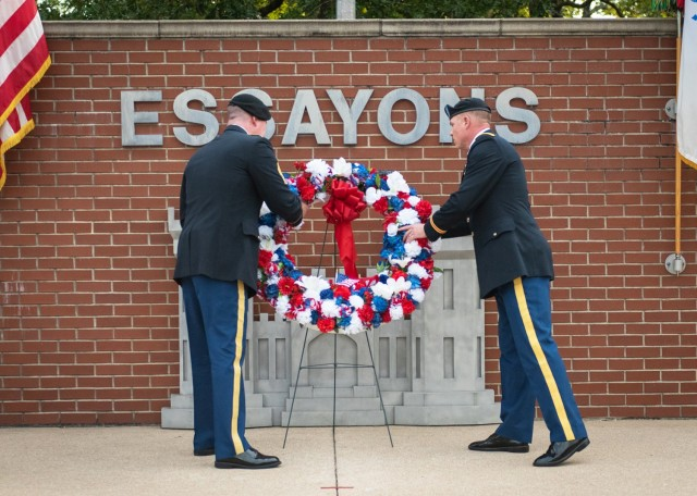 Col. Daniel Hibner, U.S. Army Engineer School commandant (right), and USAES Command Sgt. Maj. John Brennan lay a wreath at the Engineer Memorial during the Fallen Sapper Tribute ceremony Aug. 26 at Memorial Grove. The event was part of Engineer Regimental Week, which took place from Aug. 23 to 27.