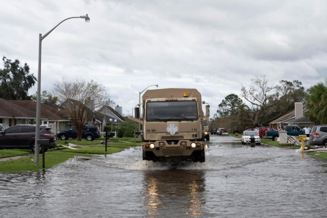 Soldiers with the Louisiana National Guard conduct search and rescue missions in Laplace, La., Aug. 30, 2021, during the recovery from Hurricane Ida.