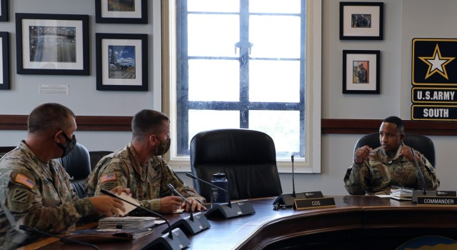 Leaders from the 2nd Battalion, 1st Security Force Assistance Brigade, left, listen to Maj. Gen. William L. Thigpen, right, the U.S. Army South commanding general, during Operation Alamo Shield Mission Prep II at the U.S. Army South Headquarters Sept. 1. Operation Alamo Shield Mission Prep is an Army South-led academics program that increases regional awareness, outlines and explains policy guidance, and highlights lessons learned from previous Security Force Assistance activities for rotating SFA teams. As the Joint Forces Land Component Command for U.S. Southern Command, U.S. Army South serves as the higher headquarters for the Security Force Assistance teams in the SOUTHCOM area of responsibility, as they use their unique set of skills, experience and advanced technology to train and advise partner nations in the region.