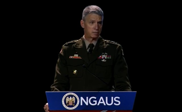 Vice Chief of Staff of the Army Gen. Joseph Martin speaks at the National Guard Association of the U.S. annual conference in Las Vegas, Nevada, Aug. 30, 2021.