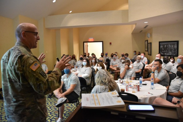 LTG L. Neil Thurgood, Director for Hypersonics, Directed Energy, Space and Rapid Acquisition, which includes the RCCTO, served as the keynote speaker at this year's Leadership Greater Huntsville Flagship Class during their opening retreat August 12. The Leadership Greater Huntsville Program is designed to identify, educate, inspire, and connect leaders to build a better community and ensure future success in the Huntsville community.