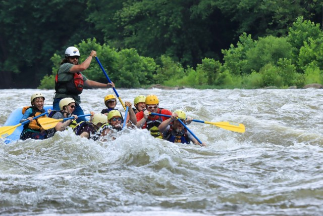 Howard Johnson goes white water rafting with his sons Brandon and Justin in West Virginia in 2020.