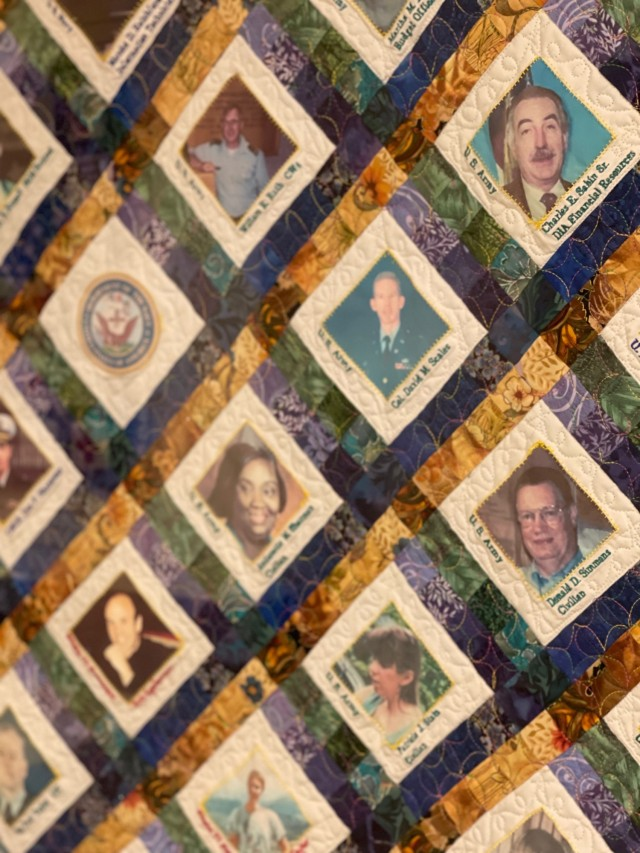 """A closeup of one of the two quilts titled """"America's 9/11 Memorial Quilts"""" that honor the 184 killed after American Airlines Flight 77 crashed into the Pentagon on Sept. 11, 2001. The quilt is on display as part of a memorial inside the building."""