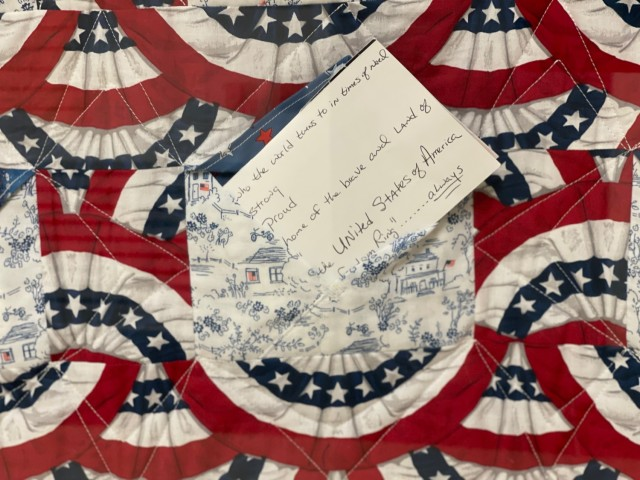 A closeup of a remembrance quilt, previously donated from U.S. Post Office customers and staff at Catawissa, Penn., currently on display in the Pentagon Quilts memorial, Washington, D.C.