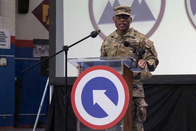 Maj. Gen. Michel M. Russell, Sr., commander of the 1st Theater Sustainment Command, speaks at a transfer of authority ceremony at Camp Arifjan, Kuwait, on Aug. 28, 2021. The ceremony was symbolic of 3rd ESC, deployed out of Fort Bragg, North Carolina, assuming the operational command post mission for the 1st Theater Sustainment Command from the 310th Expeditionary Sustainment Command. (U.S. Army photo by Sgt. 1st Class Mary S. Katzenberger)
