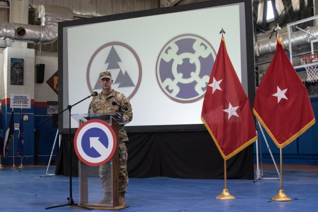 Brig. Gen. Justin M. Swanson, commander of the 310th Expeditionary Sustainment Command, speaks at a transfer of authority ceremony at Camp Arifjan, Kuwait, on Aug. 28, 2021. The ceremony was symbolic of 310th ESC transferring the operational command post mission for the 1st Theater Sustainment Command to the 3rd Expeditionary Sustainment Command. (U.S. Army photo by Sgt. 1st Class Mary S. Katzenberger)