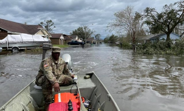 Louisiana National Guardsmen with the 922nd Engineer Vertical Construction Company helped rescue 135 people and four dogs in the flooded community of LaPlace, Louisiana, in the immediate aftermath of Hurricane Ida, which made landfall in south Louisiana Aug. 29, 2021. (Photo courtesy of Louisiana National Guard)
