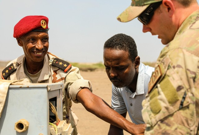 Capt. Le Mohamed Louaita, commander for Djiboutian Demining Company, expresses gratitude to Tech. Sgt. Dylan Wagner, explosive ordnance disposal technician, 123rd Airlift Wing, Aug. 22, 2021, in Djibouti City, Djibouti. Kentucky National Guard Engineers with the 577th Sapper Company and 123rd Airlift Wing trained with the Djiboutian military as a part of the State Partnership Program.