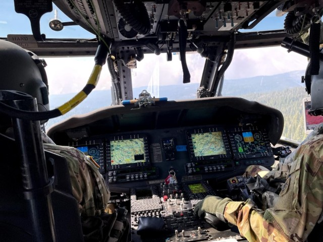 Wisconsin Army National Guard UH-60 Black Hawk crews from the Madison, Wis.-based 1st Battalion, 147th Aviation, provide assistance in wildfire fighting operations in California. (Photo by Wisconsin National Guard)
